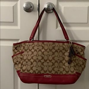 Coach bag monogrammed with maroon accents